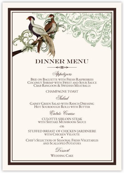 Asian Peace Birds Birds and Butterflies Wedding Menus