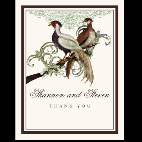 Asian Peace Birds Birds and Butterflies Thank You Notes