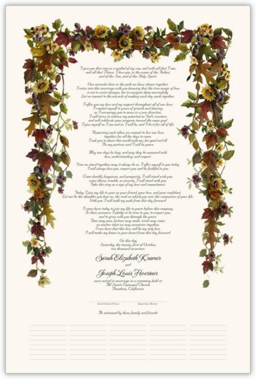 Autumn Leaves and Sunflowers Autumn Leaves Wedding Certificates