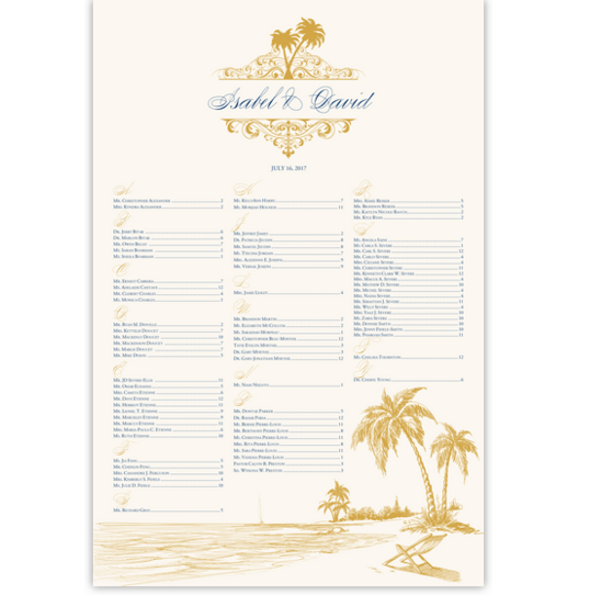 Beach Palms Beach and Seashell Wedding Seating Charts