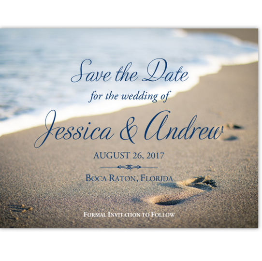 Beach Footprints Beach, Seashell, and Fish Save the Dates