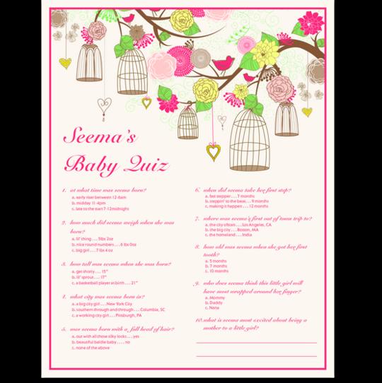 Bird Cages Baby Shower Quiz Births, Baptisms, & Mitzvahs