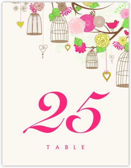 Bird Cages Birds and Butterflies Table Numbers