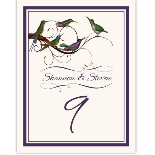 Birdz Family Birds and Butterflies Table Numbers