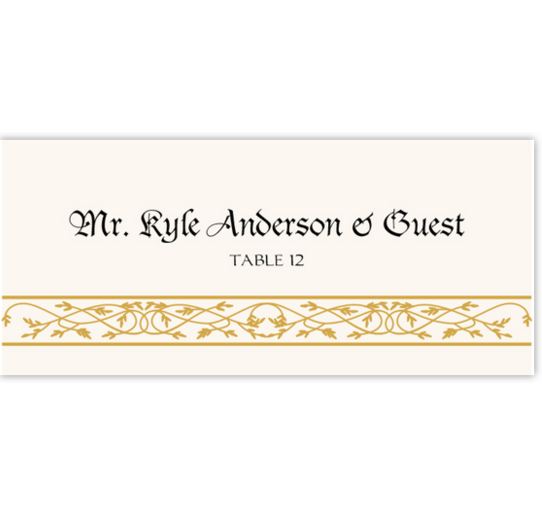 Blackletter Gothic Contemporary and Classic Place Cards
