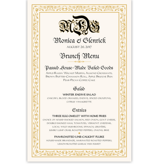 Blackletter Gothic Contemporary and Classic Menus