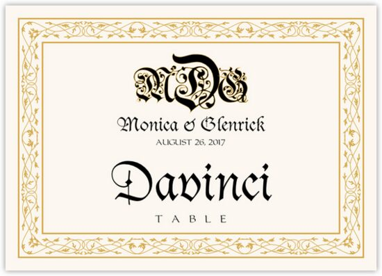 Blackletter Gothic Contemporary and Classic Table Names