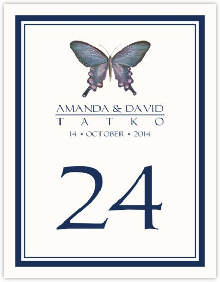 Painted Blue Butterfly Birds and Butterflies Table Numbers