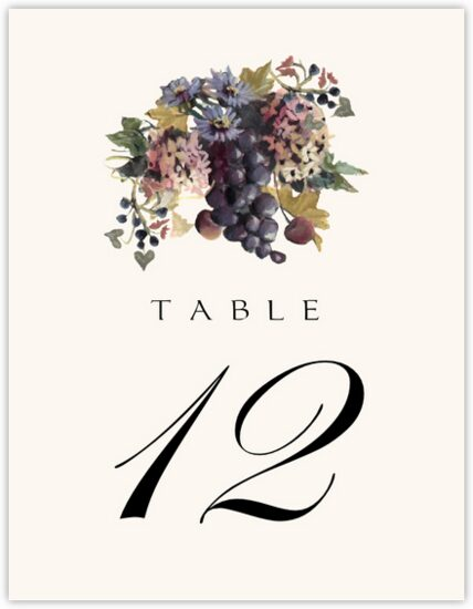 Blue Grapes and Chicory 01 Fruit and Grape Table Numbers