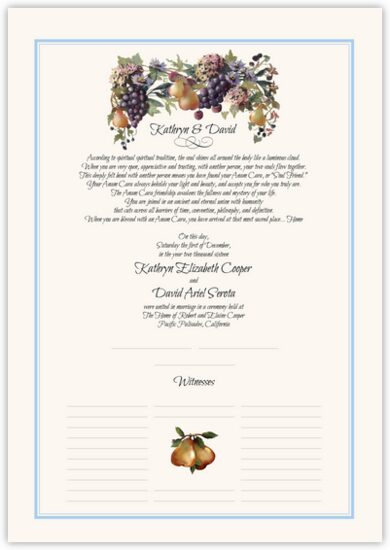 Blue Grapes and Pears Grapes and Fruit Wedding Certificates