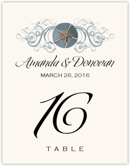 Blue Sand Dollar Beach and Seashell Table Numbers