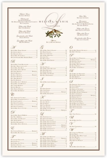 Brown Birds Birds and Butterflies Seating Charts