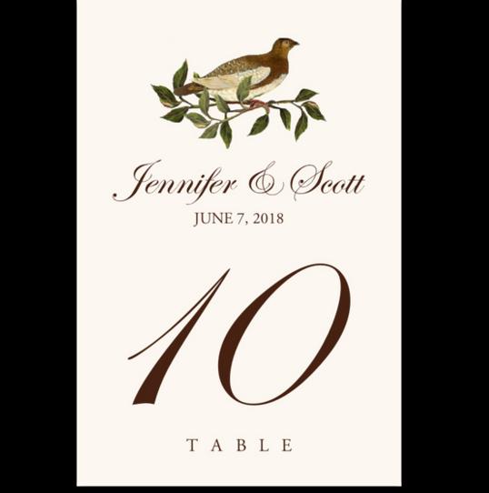 Brown Birds Birds and Butterflies Table Numbers