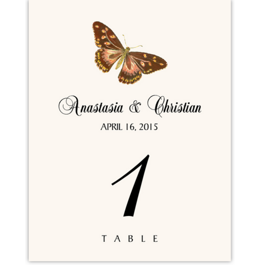 Butterfly Assortment Birds and Butterflies Table Numbers