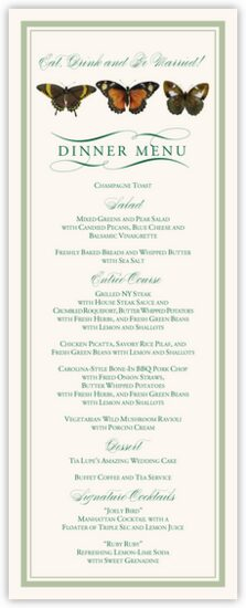 Butterfly Ballet Birds and Butterflies Wedding Menus