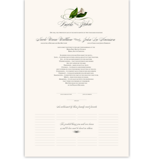 Calla Lily Swirl 01 Flower Wedding Certificates