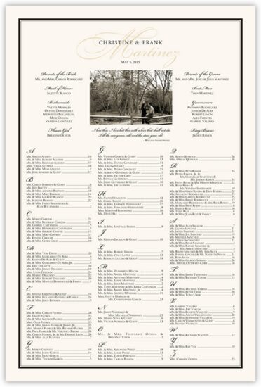 Charming Romantic Photography Wedding Seating Charts