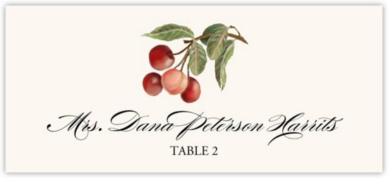 Cherries Fruit, Grapes and Vineyard Place Cards