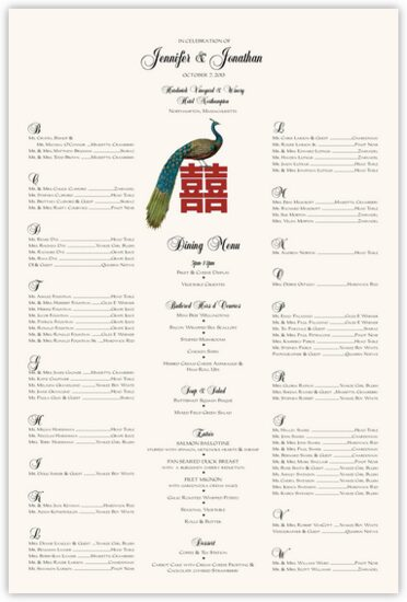 Double Happiness Peacock Far-East Inspired Seating Charts