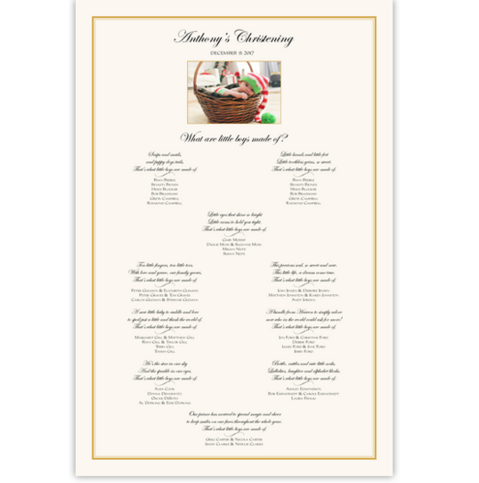 Christening Photo with Poems Seating Chart