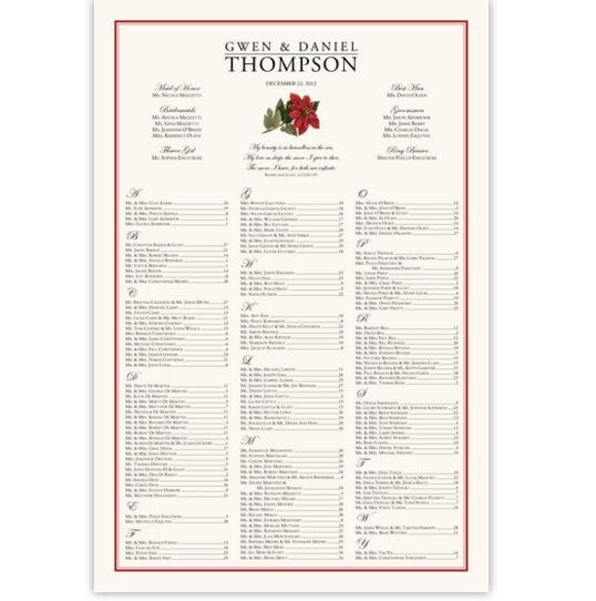 Poinsettia Winter and Holiday Seating Charts