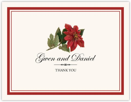 Poinsettia Winter, Snowflake, and Holiday Thank You Notes