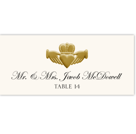 Gold or Silver Claddagh Celtic/Irish Inspired Wedding Place Cards