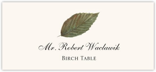 Birch Colorful Leaf Autumn/Fall Leaves Place Cards