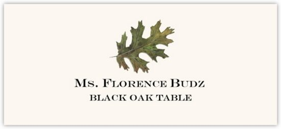 Black Oak Colorful Leaf Autumn/Fall Leaves Place Cards