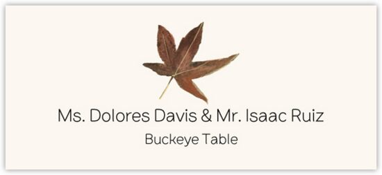Buckeye Colorful Leaf Autumn/Fall Leaves Place Cards