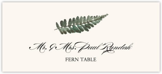 Fern Colorful Leaf Autumn/Fall Leaves Place Cards