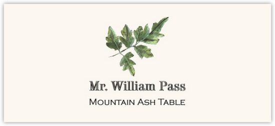 Mountain Ash Colorful Leaf Autumn/Fall Leaves Place Cards