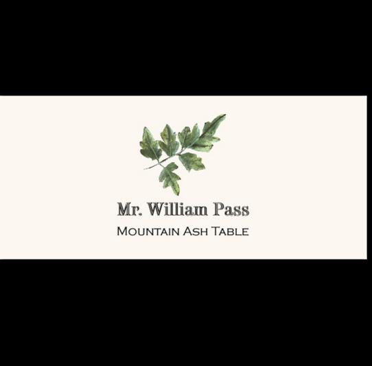 Mountain Ash Colorful Leaf Autumn/Fall Leaves Place Cards