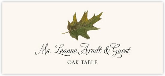 Oak Colorful Leaf Autumn/Fall Leaves Place Cards
