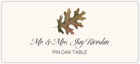 Pin Oak Colorful Leaf Autumn/Fall Leaves Place Cards