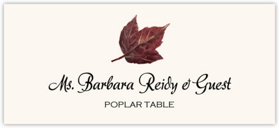 Poplar Colorful Leaf Autumn/Fall Leaves Place Cards