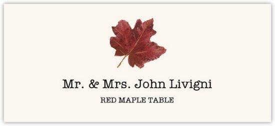 Red Maple Colorful Leaf Autumn/Fall Leaves Place Cards