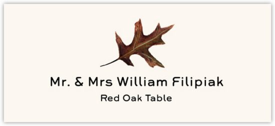 Red Oak Colorful Leaf Autumn/Fall Leaves Place Cards