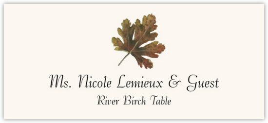 River Birch Colorful Leaf Autumn/Fall Leaves Place Cards