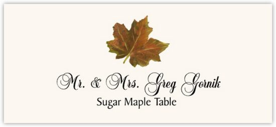 Sugar Maple Colorful Leaf Autumn/Fall Leaves Place Cards