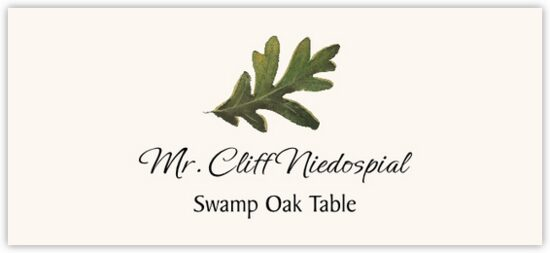 Swamp Oak Colorful Leaf Autumn/Fall Leaves Place Cards
