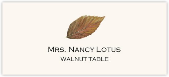 Walnut Colorful Leaf Autumn/Fall Leaves Place Cards