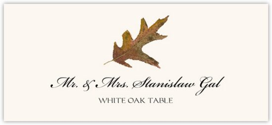 White Oak Colorful Leaf Autumn/Fall Leaves Place Cards