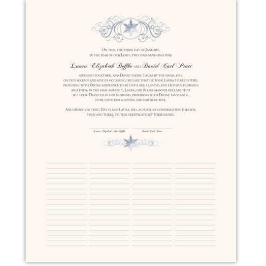 Curly Sue Snowflake Winter and Snowflake Wedding Certificates