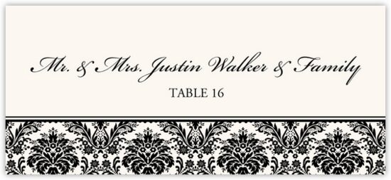 Damask Pattern Contemporary and Classic Place Cards