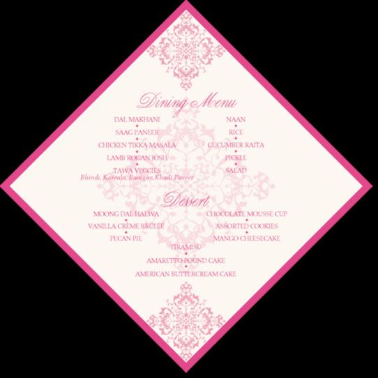 Diamond Mandala Contemporary and Classic Menus