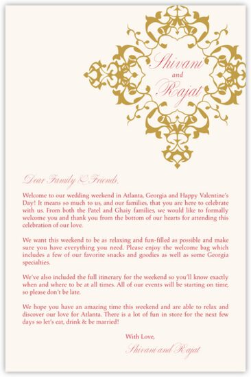 Diamond Mandala Welcome Letter Indian/Hindu Wedding Programs