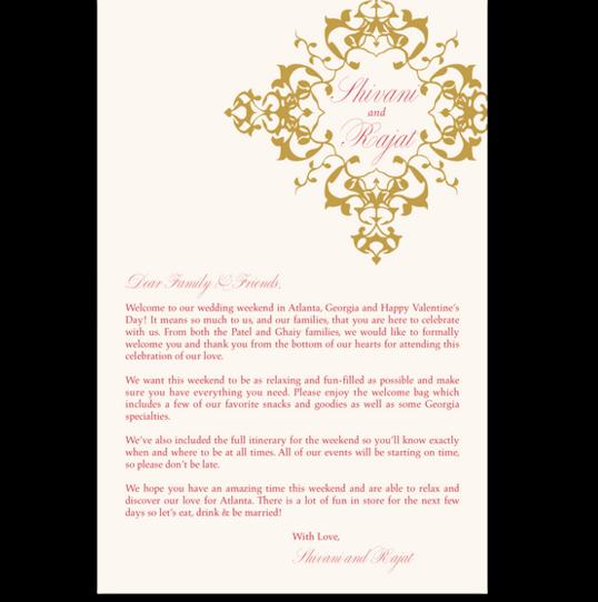 Diamond Mandala Welcome Letter Indian/Hindu Wedding Programs