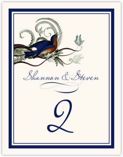 Elle Bluebird Birds and Butterflies Table Numbers