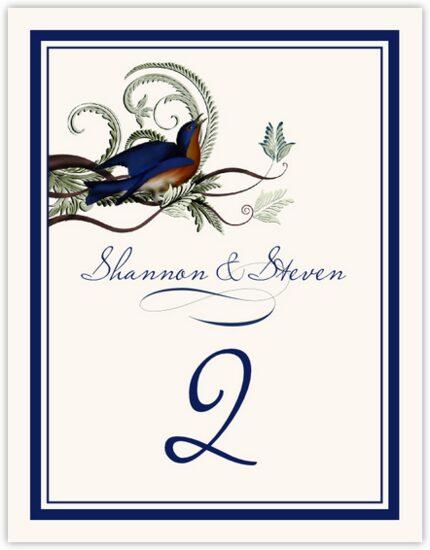 Elle Bluebird Birds and Butterflies Table Numbers